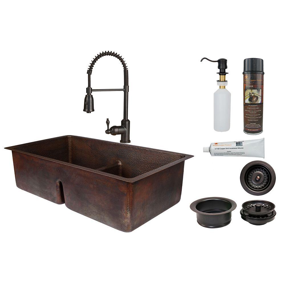 Premier Copper Products Évier de cuisine 50/50 à cuve double en cuivre avec diviseur tout-en-un de 33 po bronze huilé_K4