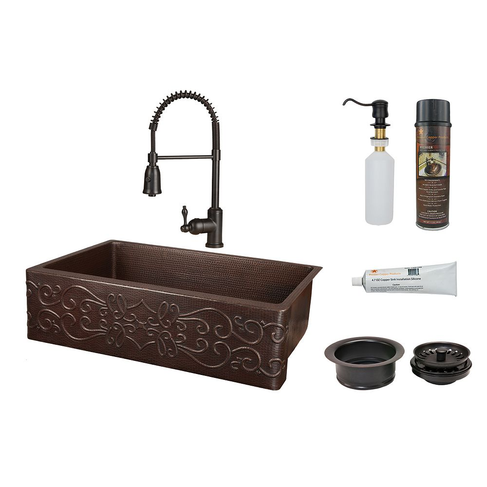 Premier Copper Products All-in-One Farmhouse/Apron-Front Copper 33 inch 0-Hole Single Bowl Kitchen Scroll Apron Sink in ORB