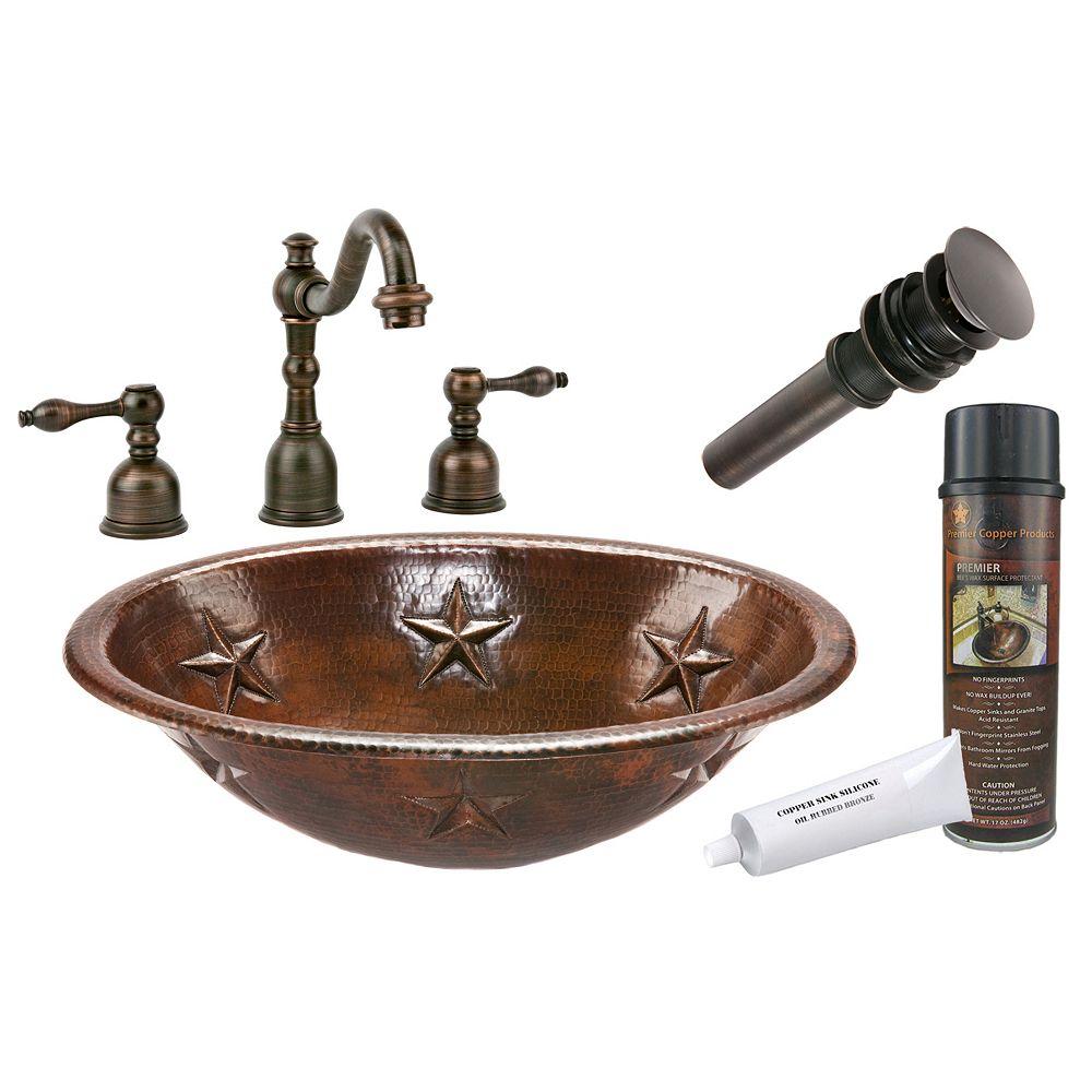 Premier Copper Products Lavabo de salle de bain ovale Star en cuivre ovale tout-en-un de 19 po en bronze huilé
