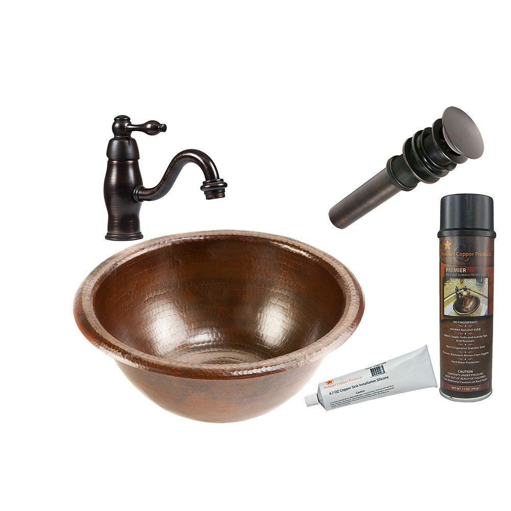 Premier Copper Products All-in-One Drop In Small Round Copper 14 inch 0-Hole Bathroom Sink in Oil Rubbed Bronze