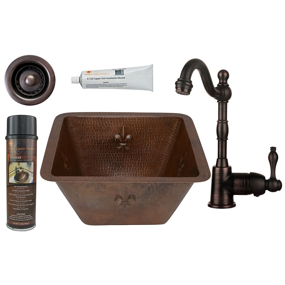 Premier Copper Products All-in-One 15 inch Square Fleur De Lis Copper Bar Sink in Oil Rubbed Bronze with 2 inch Drain Opening