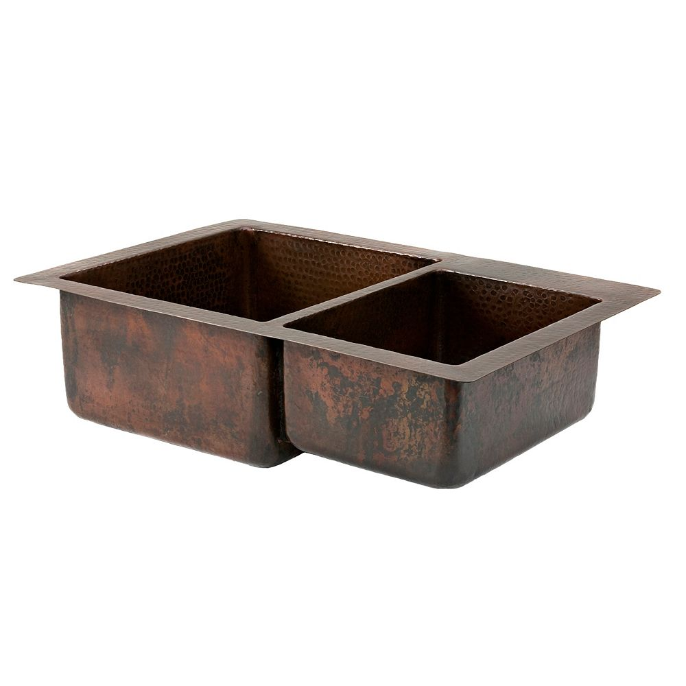 Premier Copper Products Dual Mount Copper 33 inch 0-Hole Double Bowl 60/40 Kitchen Sink in Oil Rubbed Bronze