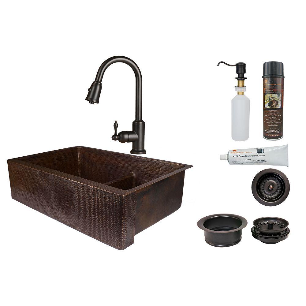 Premier Copper Products Évier cuisine tout-en-un 33po à tablier 60/40 cuivre avec diviseurde en bronze huilé