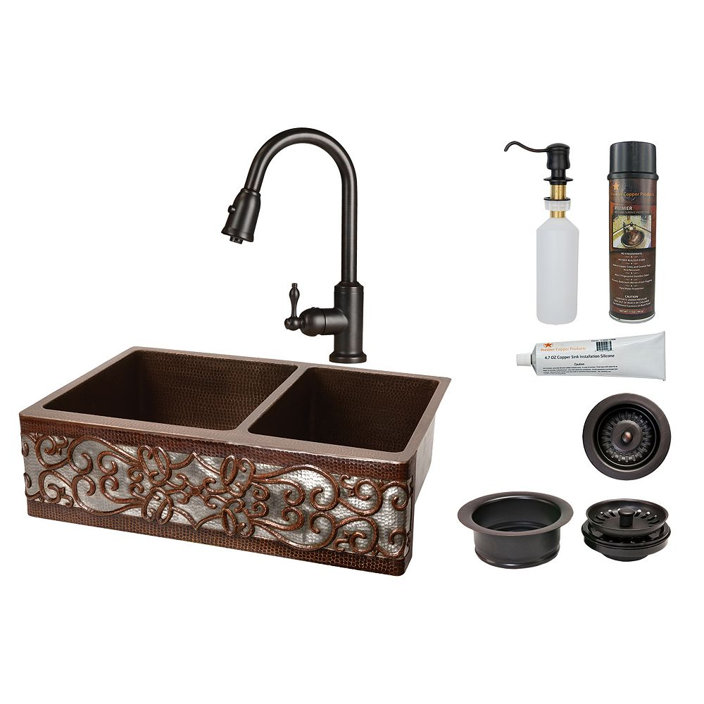 Premier Copper Products All-in-One Farmhouse/Apron-Front Copper 33 inch 0-Hole 60/40 Kitchen Scroll Apron Sink in ORB and NI