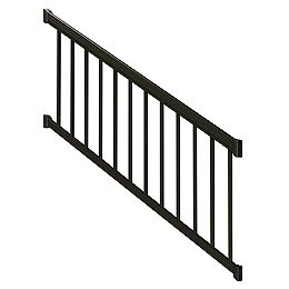 Ensemble de rampe d'escalier avec piquets de rampe en aluminium, 6 pi, en noir mat