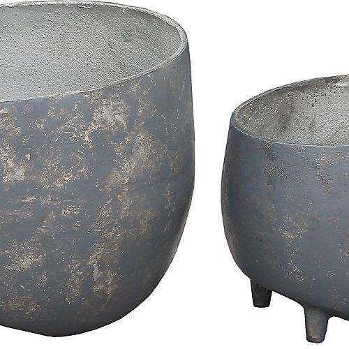 Declan Aluminium Decorative Indoor and Outdoor Planter in Grey (Set of 2)
