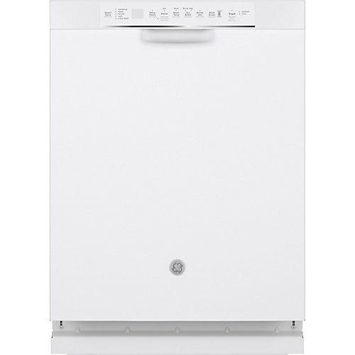 24-inch Front Control Built-In Dishwasher with Stainless Steel Tall Tub in White