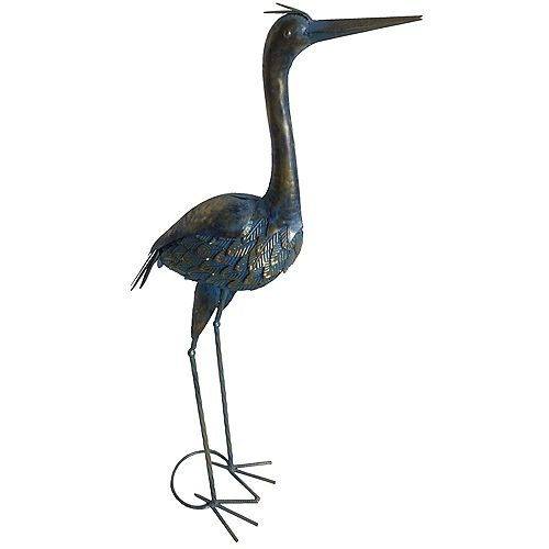 37-inch Metal Heron Statue