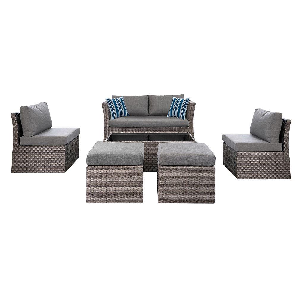 Hampton Bay Napa 6-Piece Woven Steel Patio Conversation Set with Charcoal Cushions