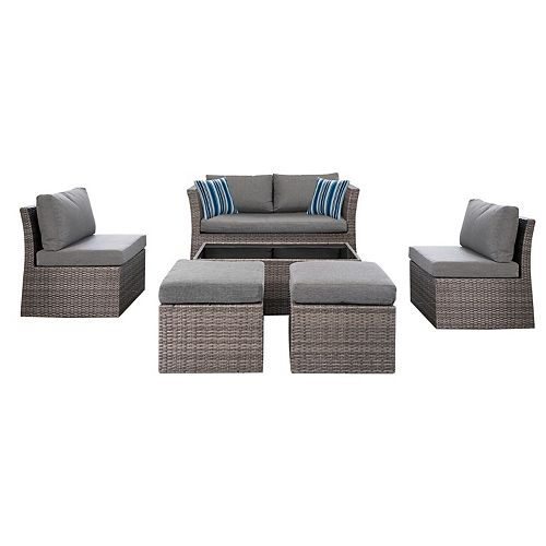 Napa 6-Piece Woven Steel Patio Conversation Set with Grey Cushion