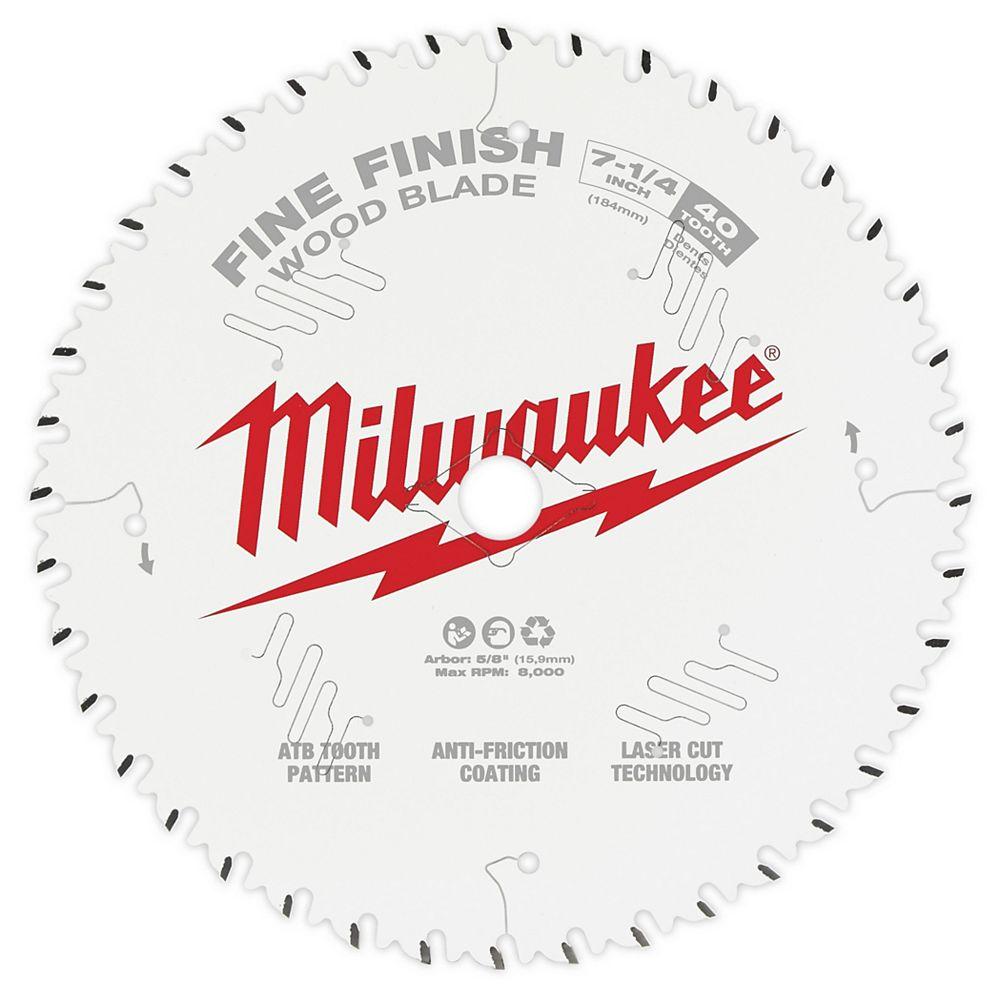 Milwaukee Tool Lame de scie circulaire au carbure à finition fine de 7-1/4 pouces x 40 dents