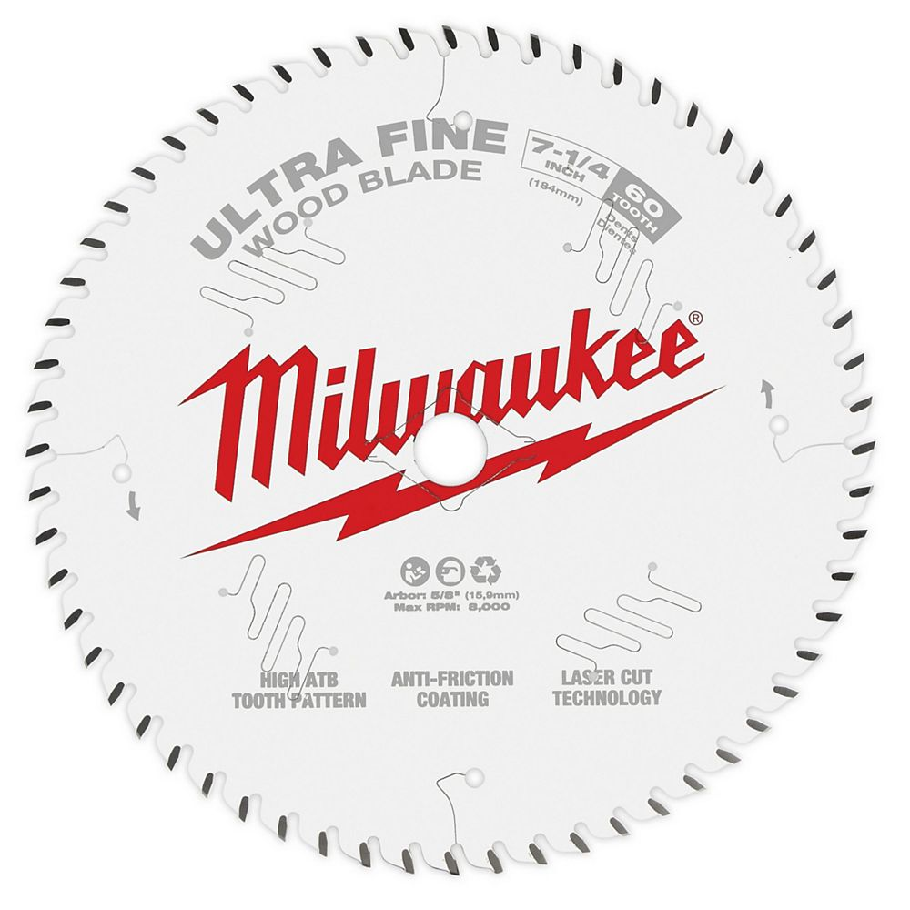 Milwaukee Tool 7-1/4-inch x 60-Tooth Ultra Fine Finish Carbide Circular Saw Blade