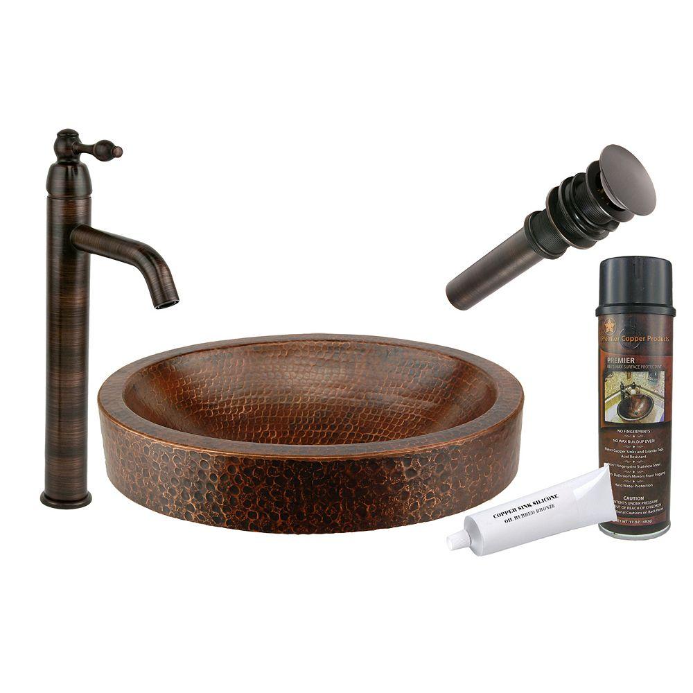 Premier Copper Products Évier en cuivre tout-en-un compact de 17 po avec récipient ovale et jupe à jupe en bronze huilé
