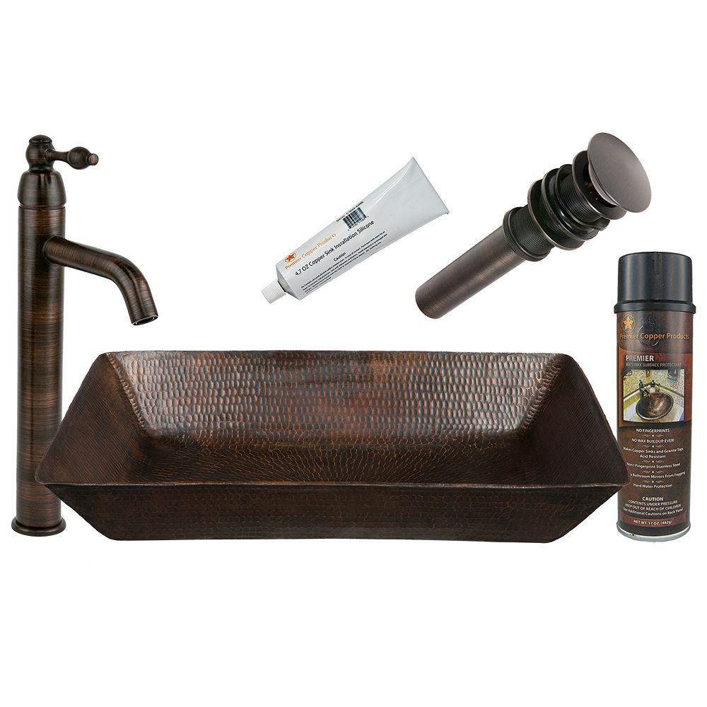 Premier Copper Products Évier tout-en-un en cuivre avec cuve rectangulaire de 20 po en bronze huilé