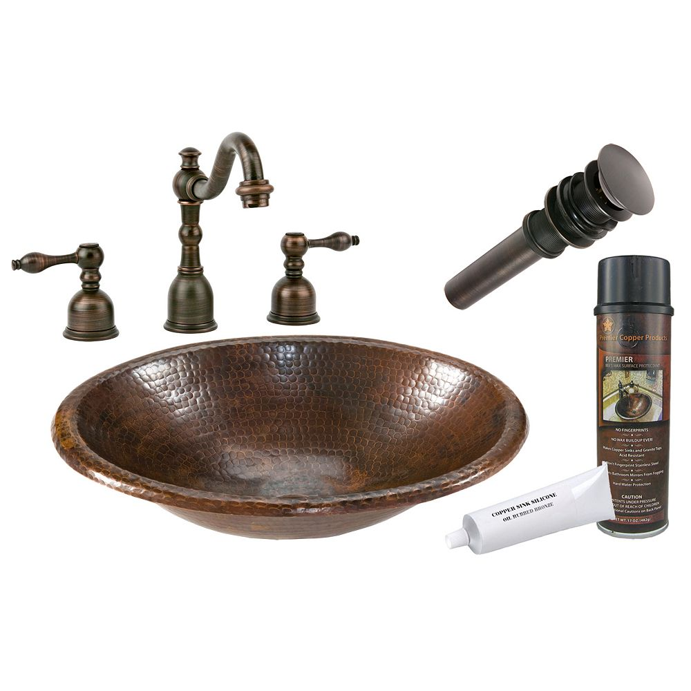 Premier Copper Products All-in-One Drop In Small Oval Copper 17 inch 0-Hole Bathroom Sink in Oil Rubbed Bronze