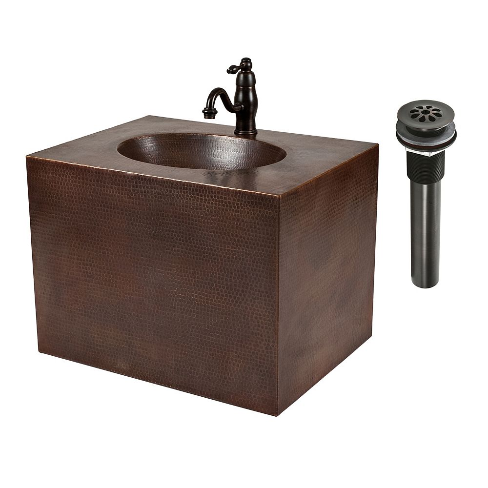 Premier Copper Products All-in-One 24 inch Copper Wall Mount Vanity and Faucet Package in Oil Rubbed Bronze
