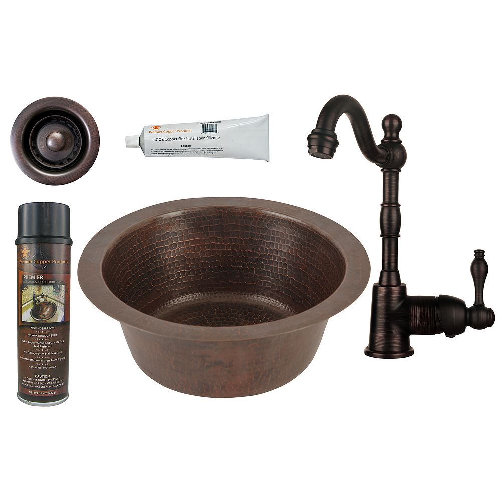 Premier Copper Products All-in-One 12 inch Round Copper Bar Sink in Oil Rubbed Bronze with 2 inch Drain Opening