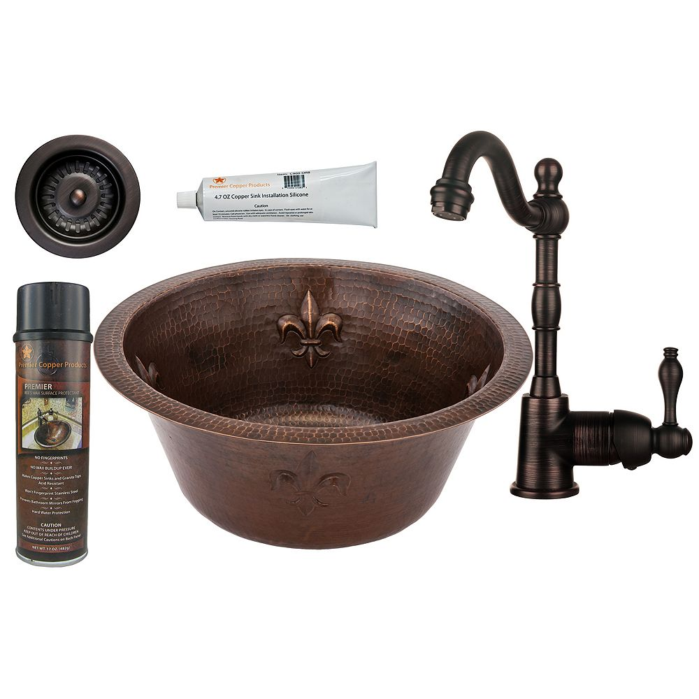 Premier Copper Products All-in-One 16 inch Round Copper Bar Sink with Fleur De Lis in ORB, 3.5 inch Drain and Strainer Drain