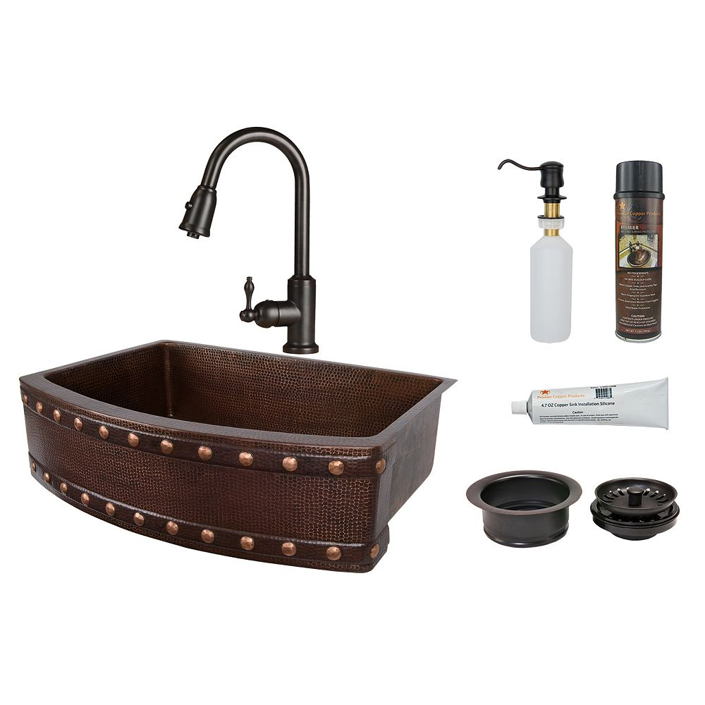 Premier Copper Products All-in-One Farmhouse/Apron-Front Copper 33 inch 0-Hole Kitchen Rounded Apron Barrel Strap Sink in ORB