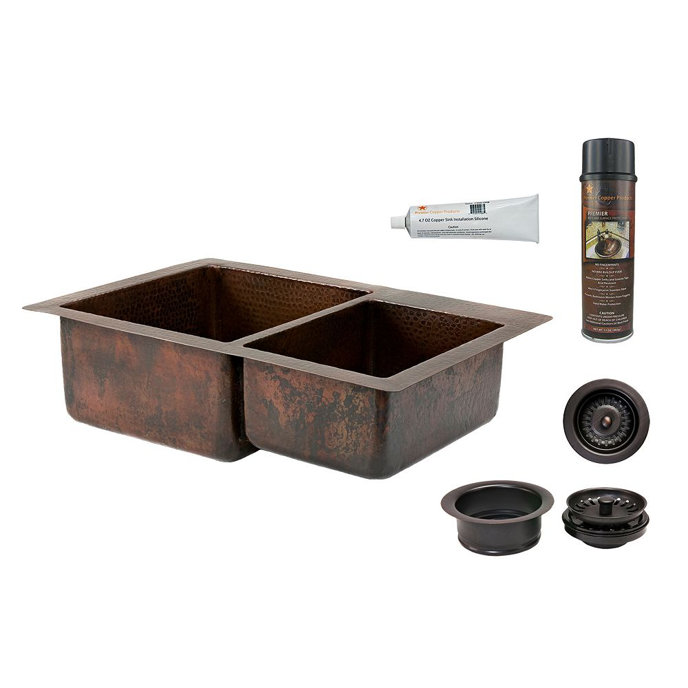 Premier Copper Products Dual Mount Copper 33 inch 0-Hole Double Bowl 60/40 Kitchen Sink and Drain in Oil Rubbed Bronze