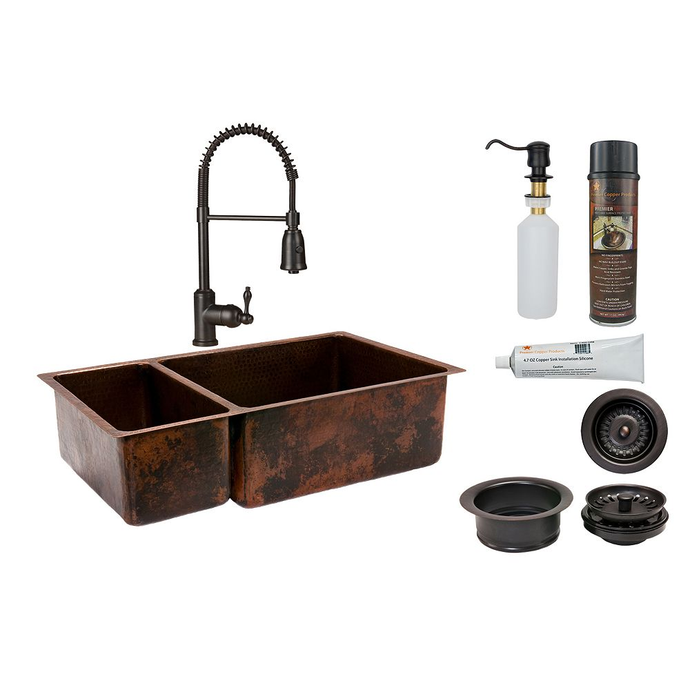 Premier Copper Products All-in-One Dual Mount Copper 33 inch 0-Hole Double Bowl 25/75 Kitchen Sink in Oil Rubbed Bronze