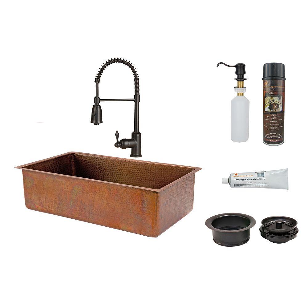 Premier Copper Products Évier de cuisine tout-en-un de 33 po à bassin unique en cuivre antique