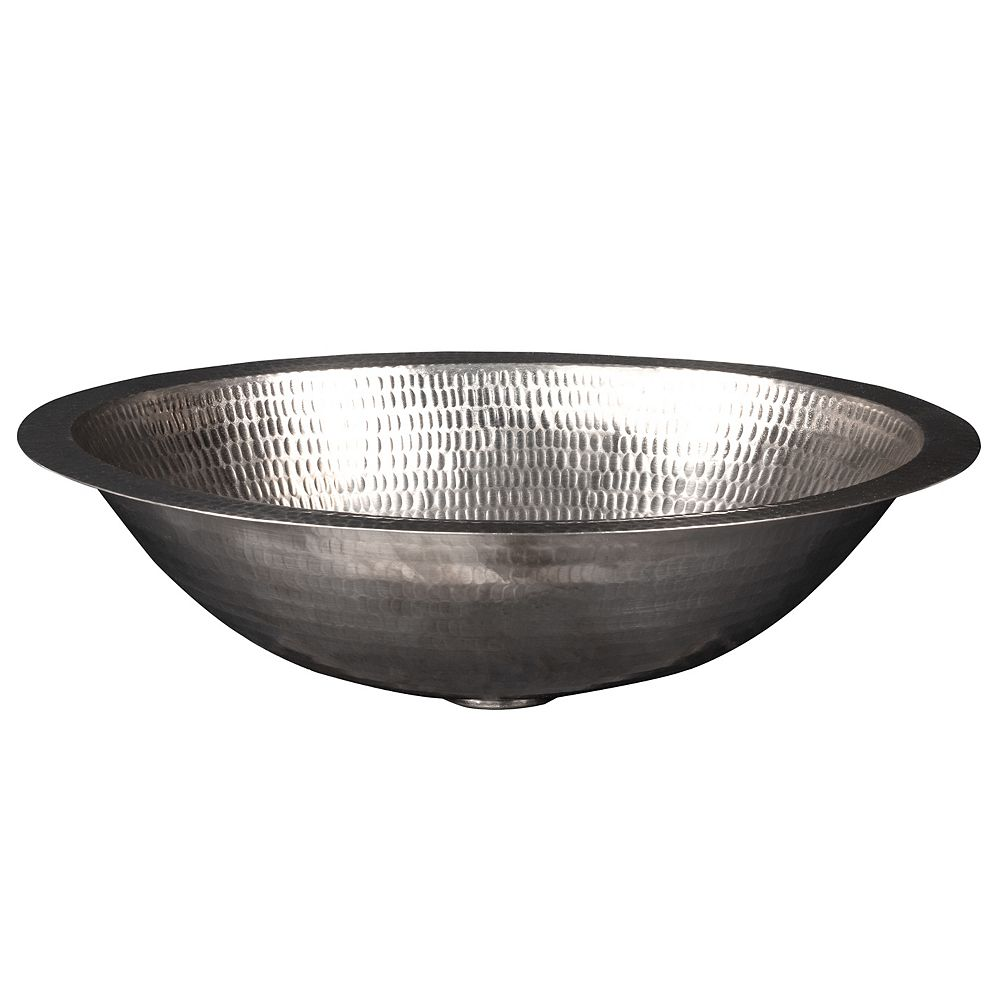 Premier Copper Products Dual Mount Small Oval Copper 17 inch 0-Hole Bathroom Sink in Nickel
