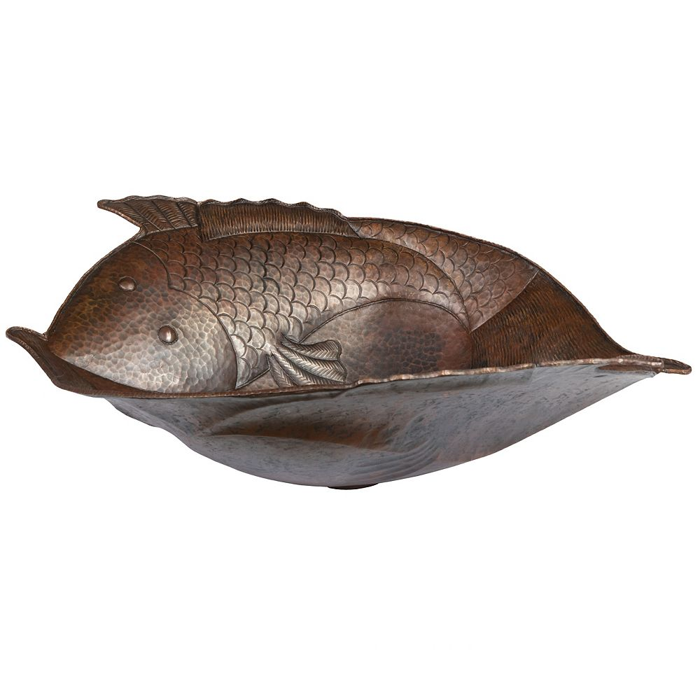 Premier Copper Products Two Fish Vessel Hammered Copper Sink in Oil Rubbed Bronze