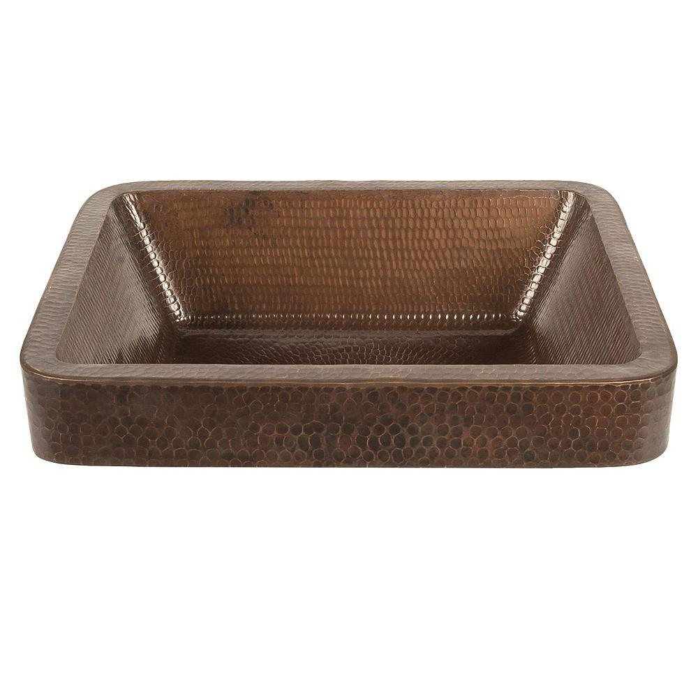 Premier Copper Products Évier en cuivre de 17 po avec cuve et conteneur à bordeaux en bronze huilé