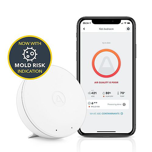 Airthings Wave Mini Smart Indoor Air Quality Monitor with Mold-Risk Indication