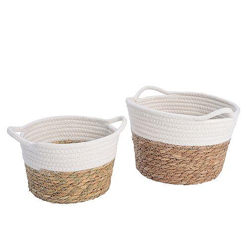 Ensemble de 2 paniers de rangement en coton et herbe marine