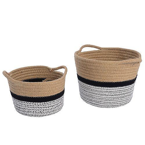 Ensemble de 2 paniers de rangement en coton