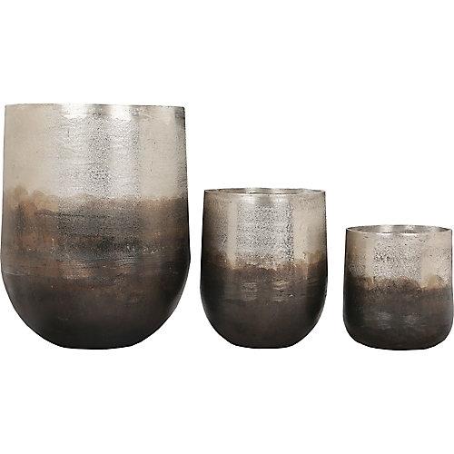 Hadron Aluminium Decorative Indoor and Outdoor Planter in Neo Pewter Copper (Set of 3)