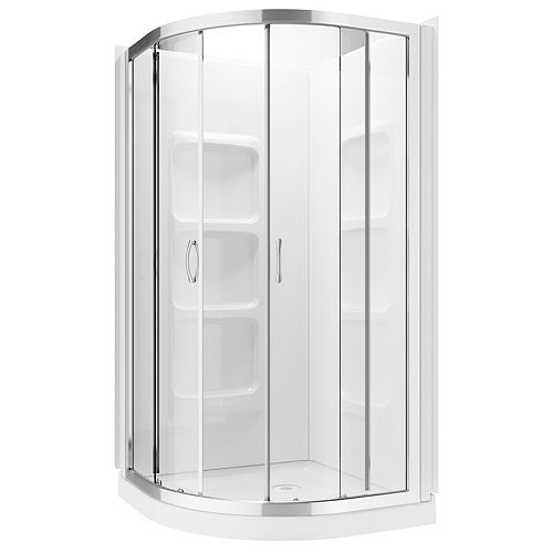 Casey 3-Piece 6-Shelf Neo-Round Corner Shower Wall and Base Kit with Frameless Sliding Doors
