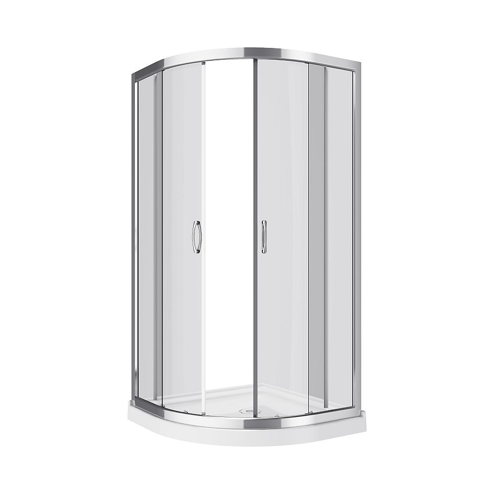 A&E Bath and Shower Annale 2-Piece Neo-Round Corner Frameless Shower Door and Base Kit