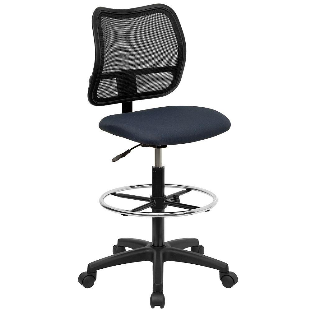 Flash Furniture Chaise de dessinateur en maille bleue marine à dossier mi-hauteur