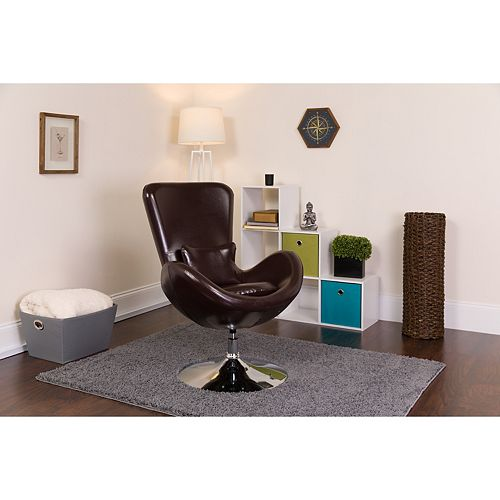 Brown Leather Egg Series Chair