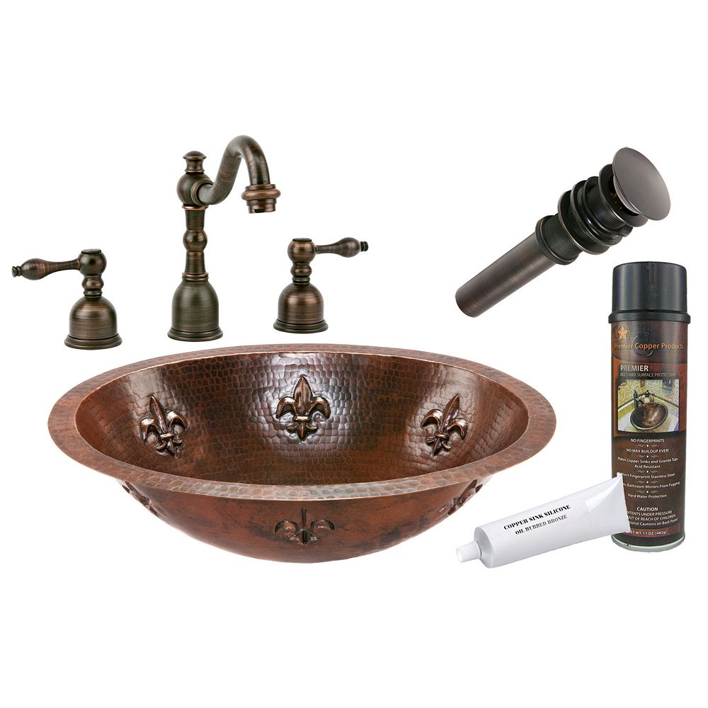 Premier Copper Products All-in-One Dual Mount Oval Fleur De Lis Copper 19 inch 0-Hole Bathroom Sink in Oil Rubbed Bronze