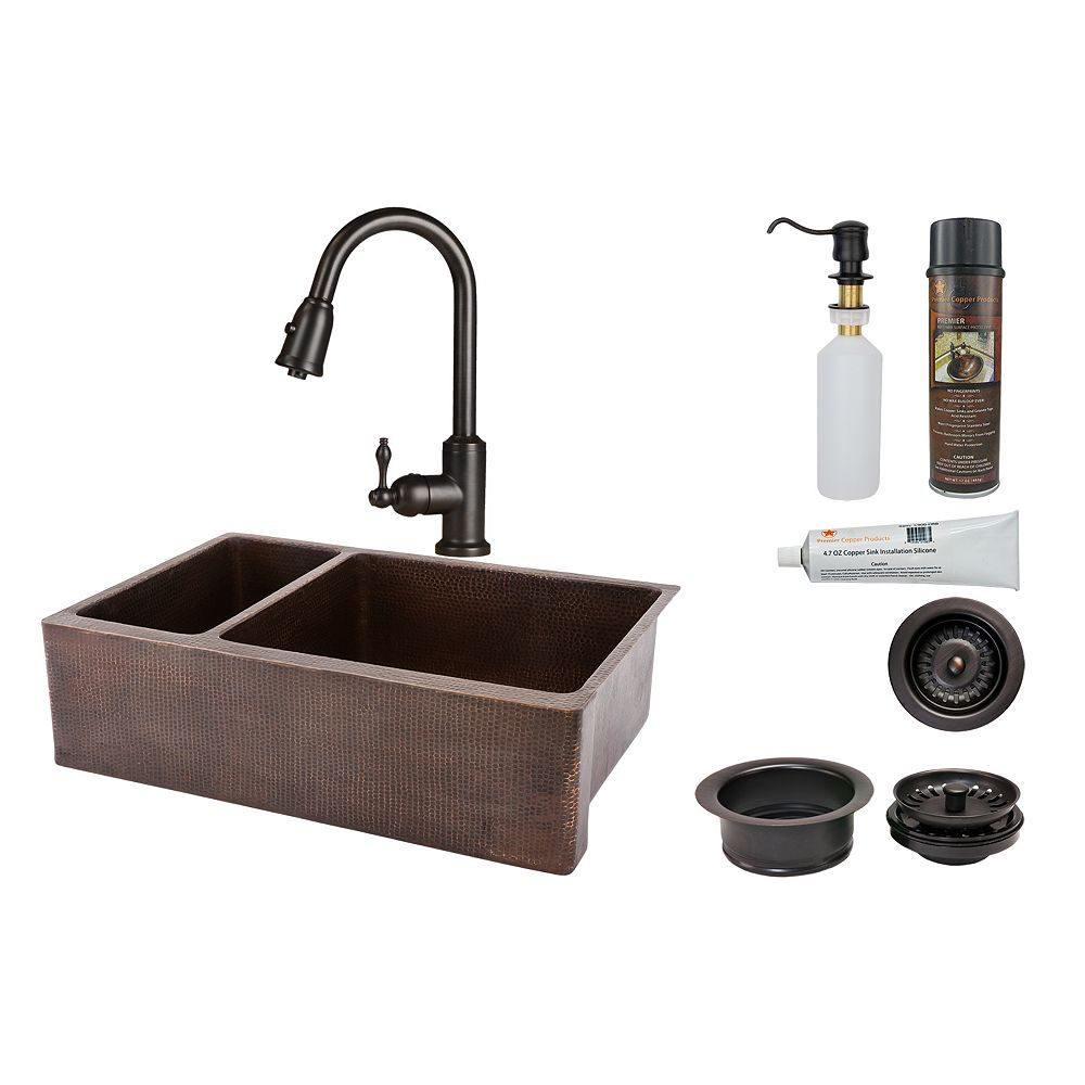 Premier Copper Products All-in-One Farmhouse/Apron-Front Copper 33 inch 0-Hole Double Bowl 25/75 Kitchen Apron Sink in ORB