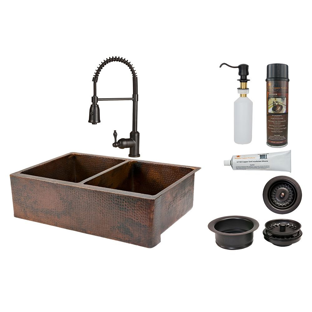 Premier Copper Products All-in-One Farmhouse/Apron-Front Copper 33 inch 0-Hole 50/50 Kitchen Apron Sink in Antique Copper