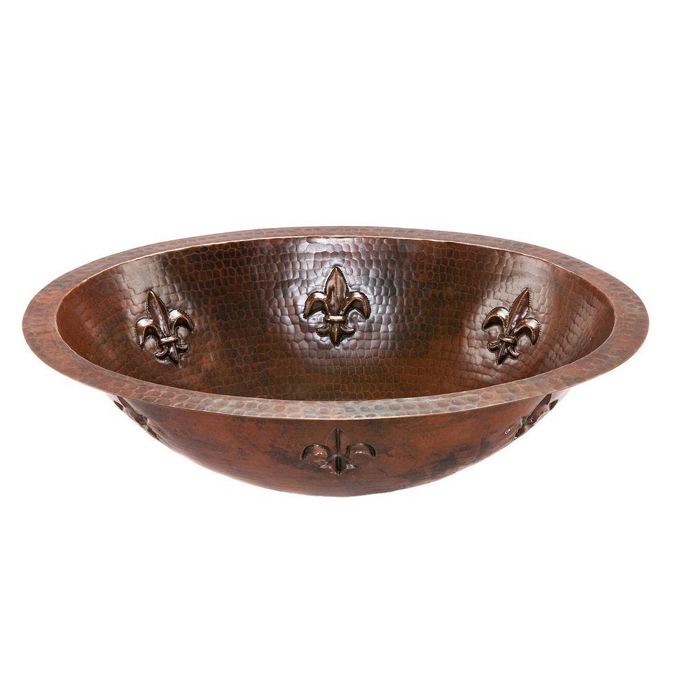 Premier Copper Products Dual Mount Oval Fleur De Lis Copper 19 inch 0-Hole Bathroom Sink in Oil Rubbed Bronze
