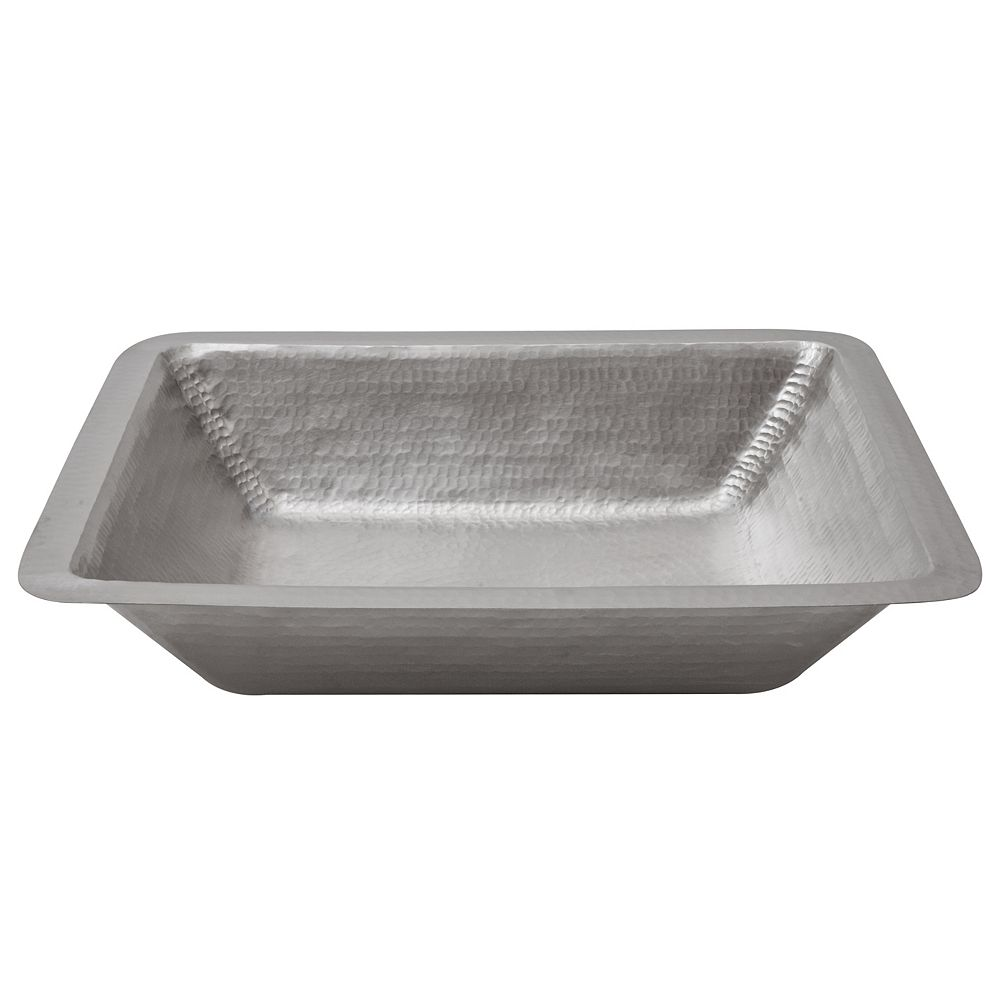 Premier Copper Products Dual Mount Rectangle Copper 19 inch 0-Hole Bathroom Sink in Nickel