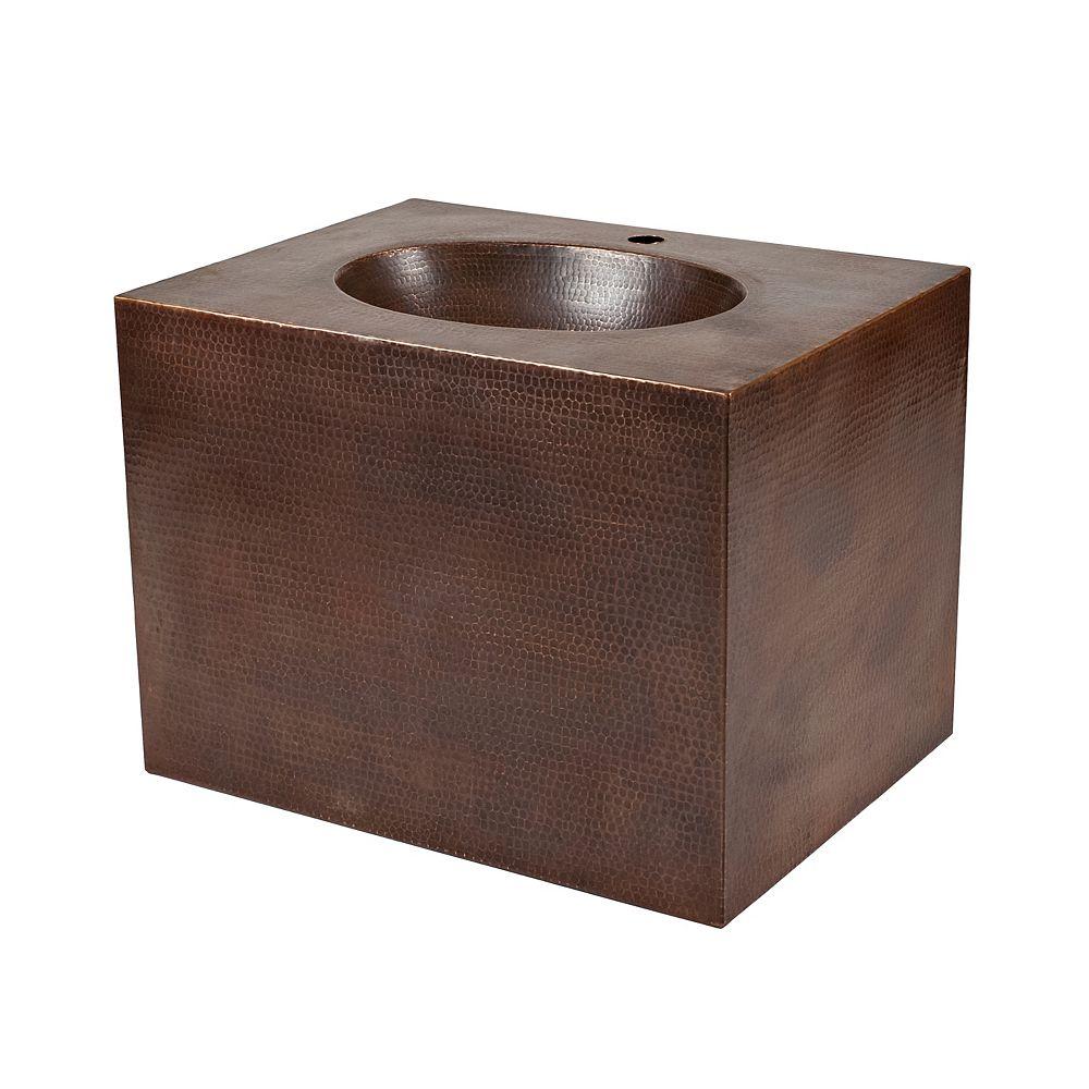 Premier Copper Products Meuble-lavabo mural de 24 po en cuivre avec trou pour robinet en bronze huilé