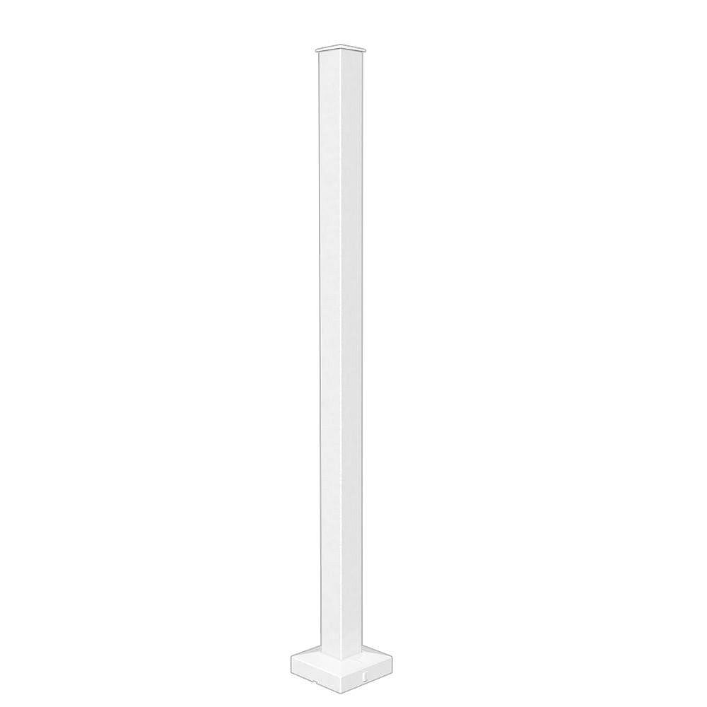 Peak Railblazers 42-inch H Aluminum Deck Railing Stair Post in White