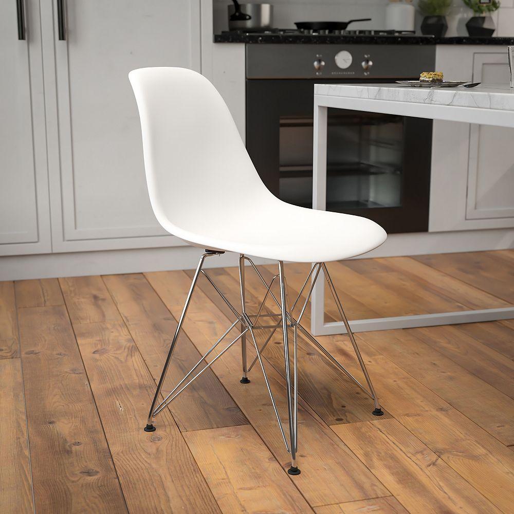 Flash Furniture White Plastic/Chrome Chair