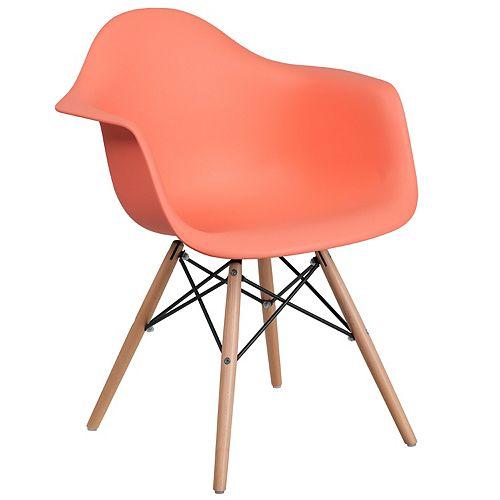 Peach Plastic/Wood Chair