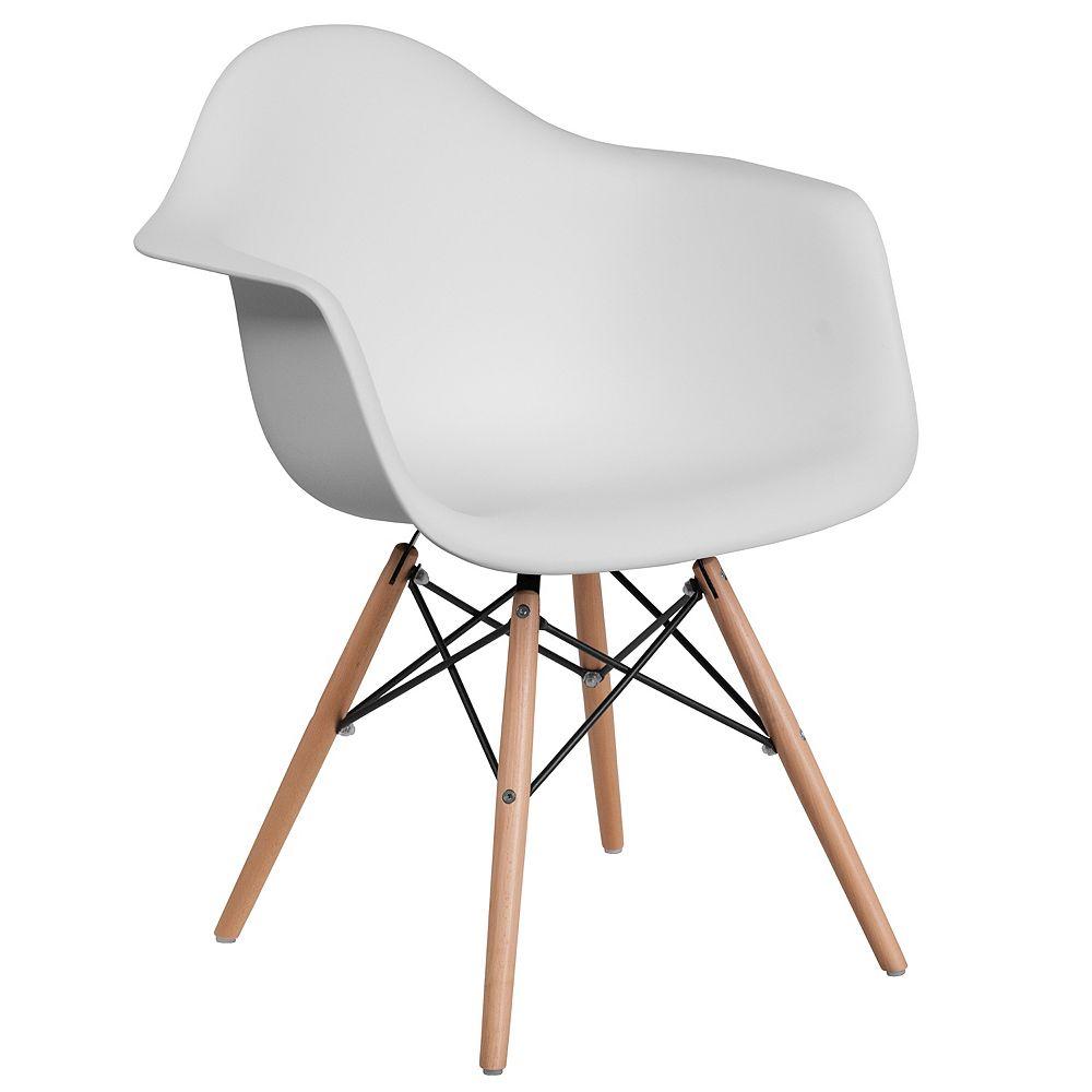 Flash Furniture White Plastic/Wood Chair