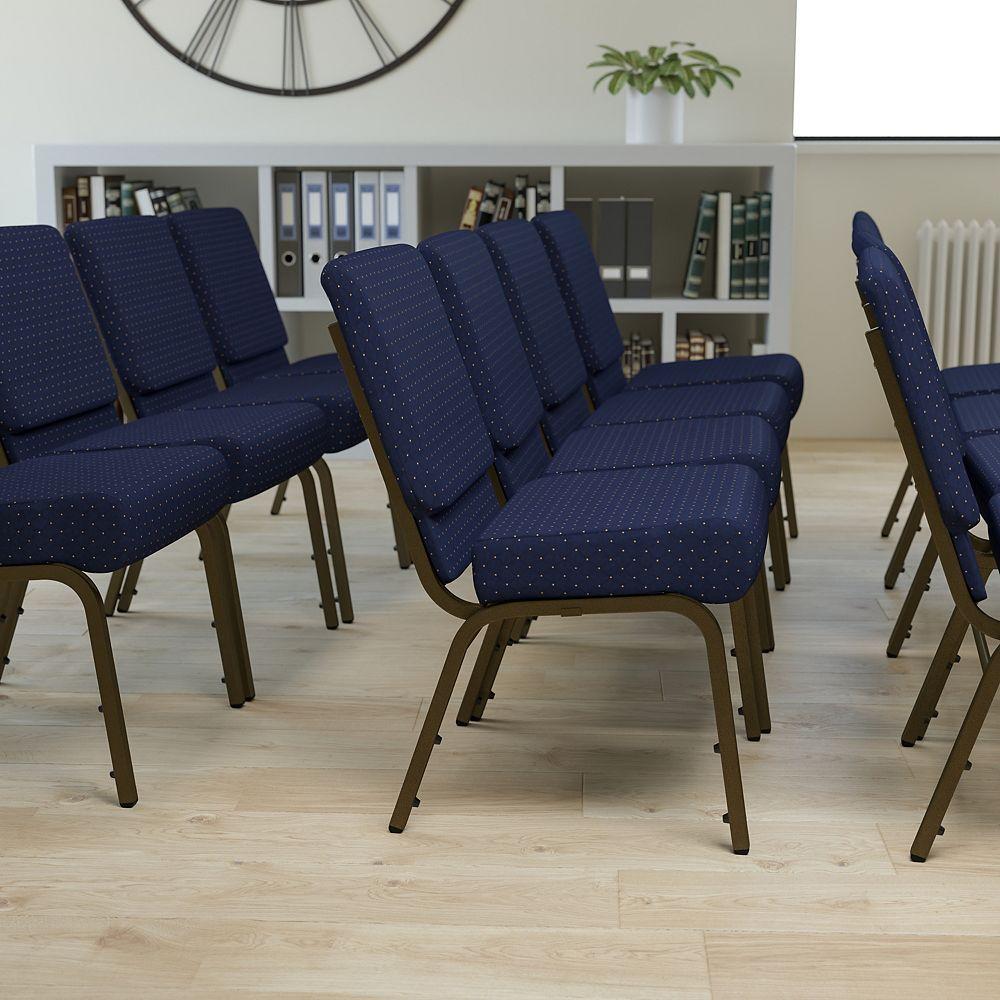 Flash Furniture Blue Dot Fabric Church Chair