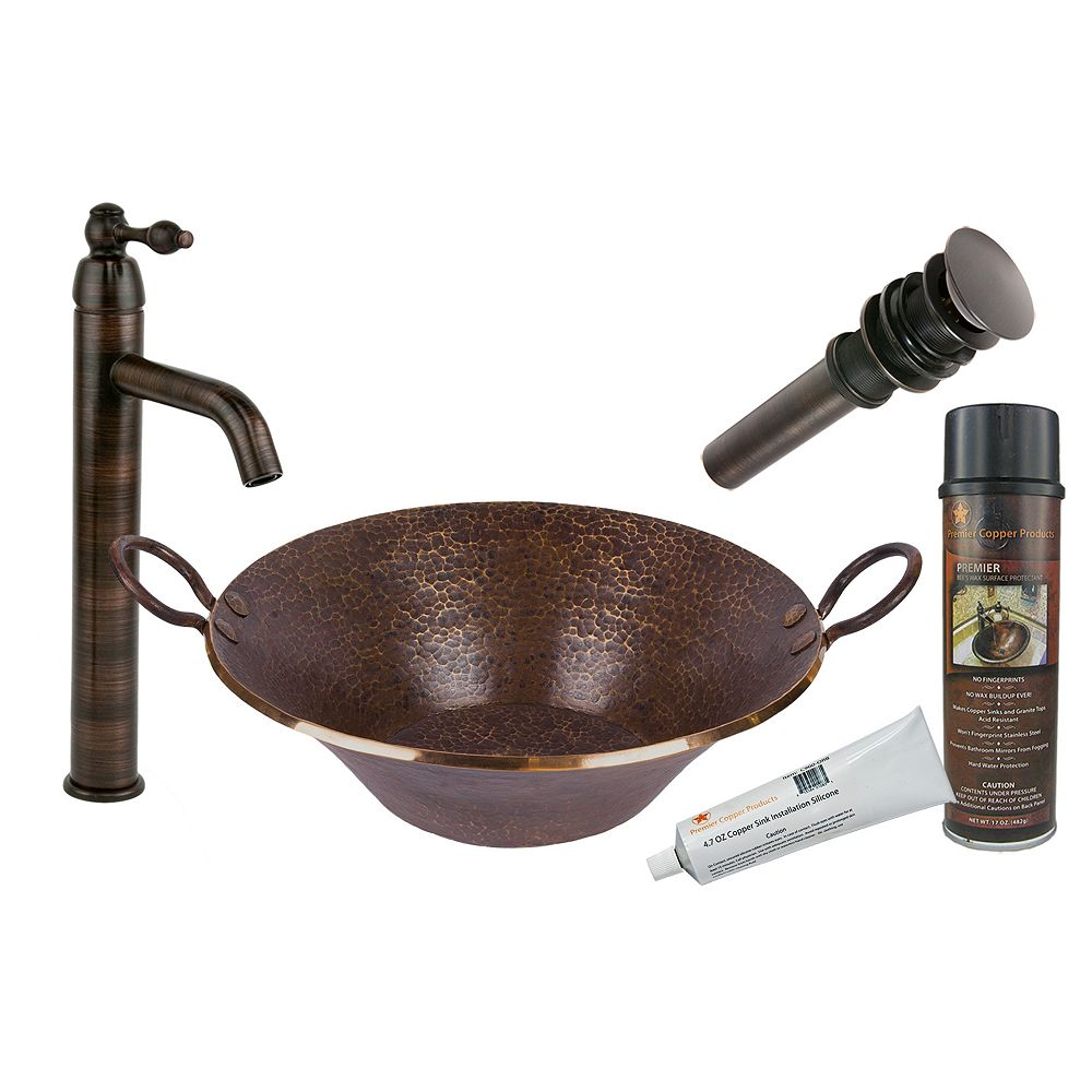Premier Copper Products All-in-One Round Hand Forged Old World Miners Pan Copper Vessel Sink in Oil Rubbed Bronze