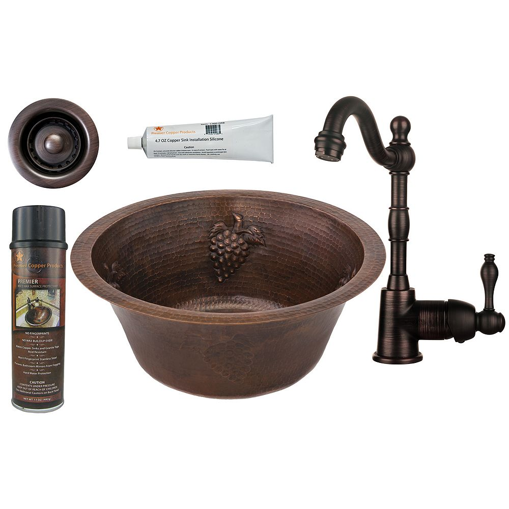 Premier Copper Products All-in-One 16 inch Round Copper Bar Sink in Oil Rubbed Bronze with Grapes and 2 inch Drain Opening